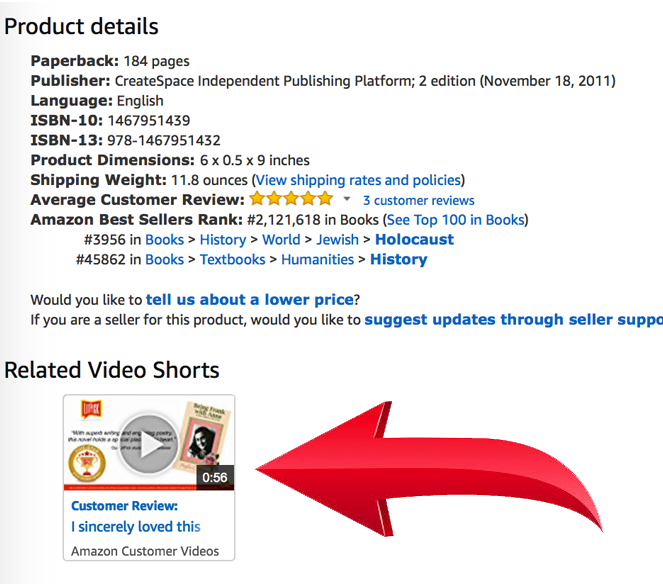 LitPick Book Brief video placement on an Amazon.com book page listing.