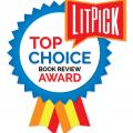 The LitPick Top Choice Award graphic in blue